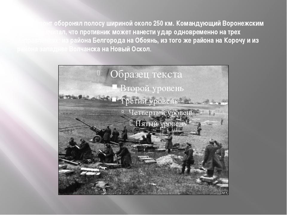 Фронт оборонял полосу шириной около 250 км. Командующий Воронежским фронтом...