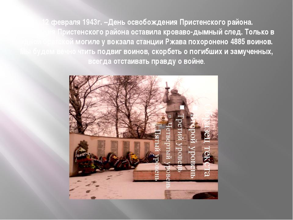 12 февраля 1943г. –День освобождения Пристенского района. Оккупация Пристенс...
