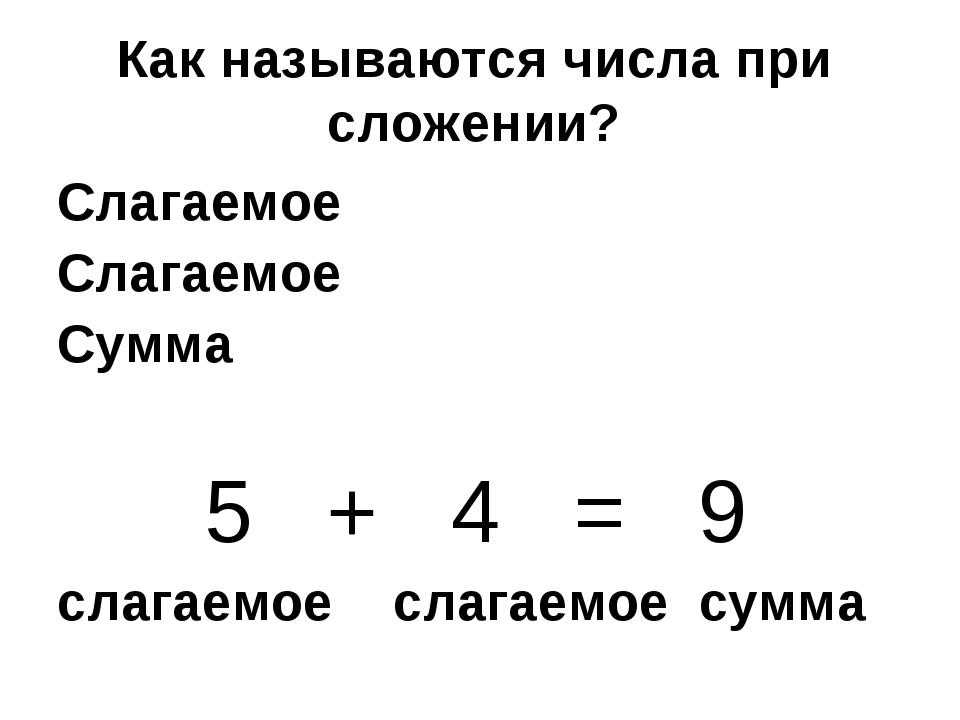 Как называются числа при сложении? Слагаемое Слагаемое Сумма 5 + 4 = 9 слагае...