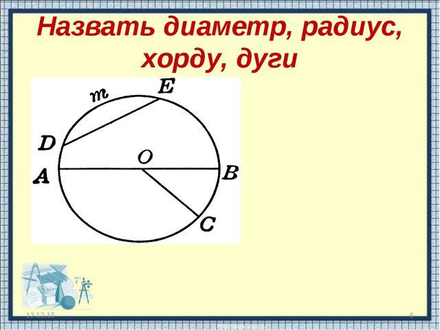 Назвать диаметр, радиус, хорду, дуги * *