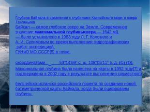 Глубина Байкала в сравнении с глубинамиКаспийского моряи озераТанганьика Б