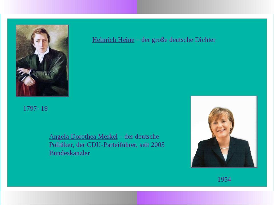 1954 Angela Dorothea Merkel – der deutsche Politiker, der CDU-Parteiführer, s...