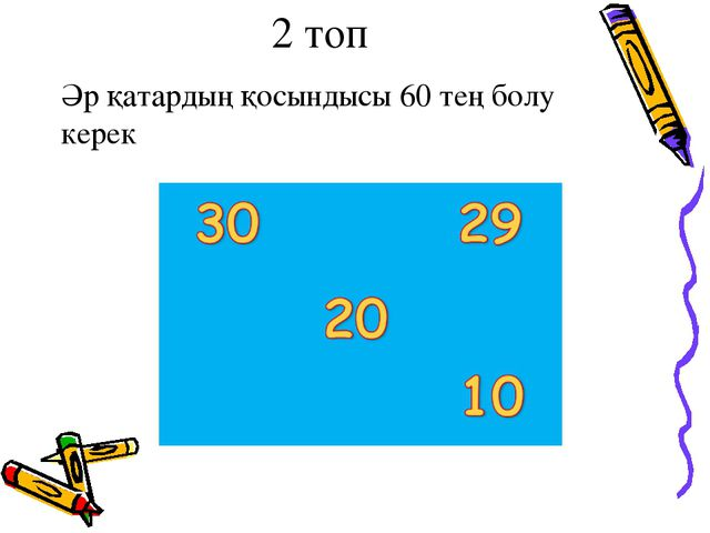 2 топ Әр қатардың қосындысы 60 тең болу керек