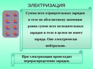 При электризации происходит перераспределение зарядов. Сумма всех отрицательн