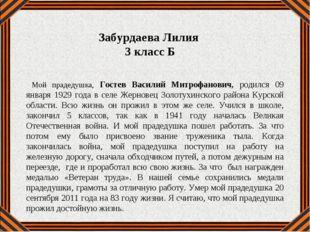 Мой прадедушка, Гостев Василий Митрофанович, родился 09 января 1929 года в с