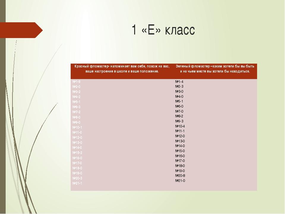 1 «Е» класс