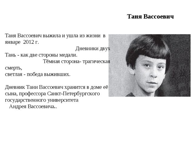 Таня Вассоевич Таня Вассоевич выжила и ушла из жизни в январе 2012 г. Дневник...