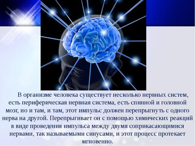 В организме человека существует несколько нервных систем, есть периферическа...