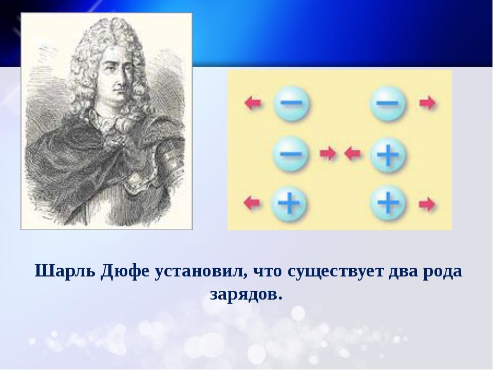 Шарль Дюфе установил, что существует два рода зарядов.