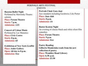 PERIVALE ARTS FESTIVAL EVENTS