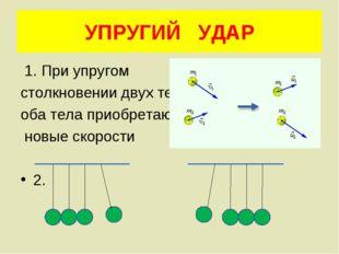 УПРУГИЙ УДАР 1. При упругом столкновении двух тел оба тела приобретают новые