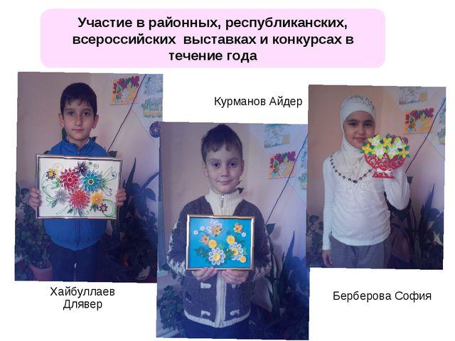 Участие в районных, республиканских, всероссийских выставках и конкурсах в те...