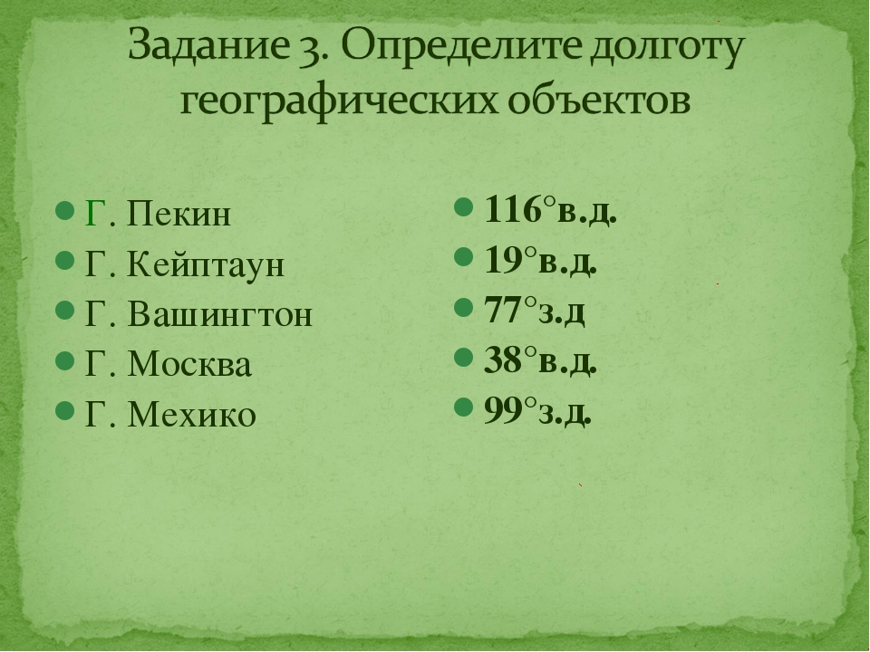 Г. Пекин Г. Кейптаун Г. Вашингтон Г. Москва Г. Мехико 116°в.д. 19°в.д. 77°з....