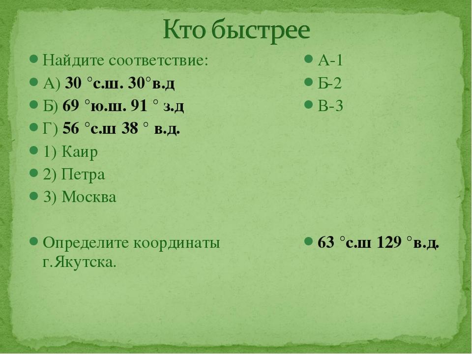 Найдите соответствие: А) 30 °с.ш. 30°в.д Б) 69 °ю.ш. 91 ° з.д Г) 56 °с.ш 38 °...