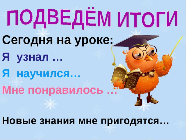 Сегодня на уроке: Я узнал … Я научился… Мне понравилось … Новые знания мне пр...