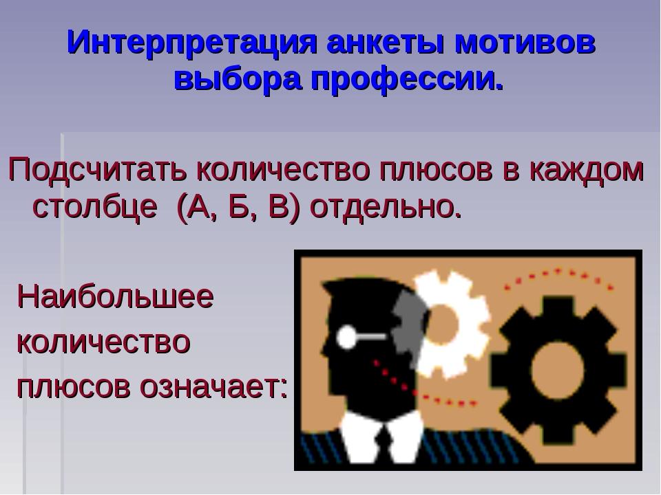 Интерпретация анкеты мотивов выбора профессии. Подсчитать количество плюсов в...
