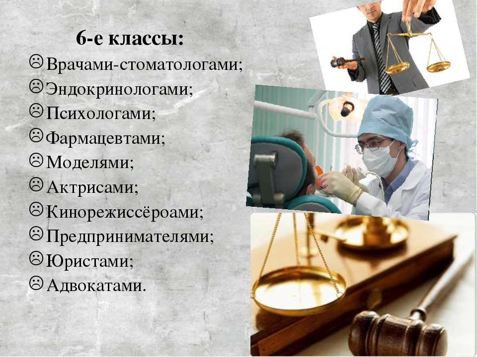 6-е классы: Врачами-стоматологами; Эндокринологами; Психологами; Фармацевта...