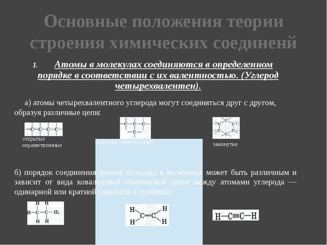 Основные положения теории строения химических соединенй 1. Атомы в молекулах...