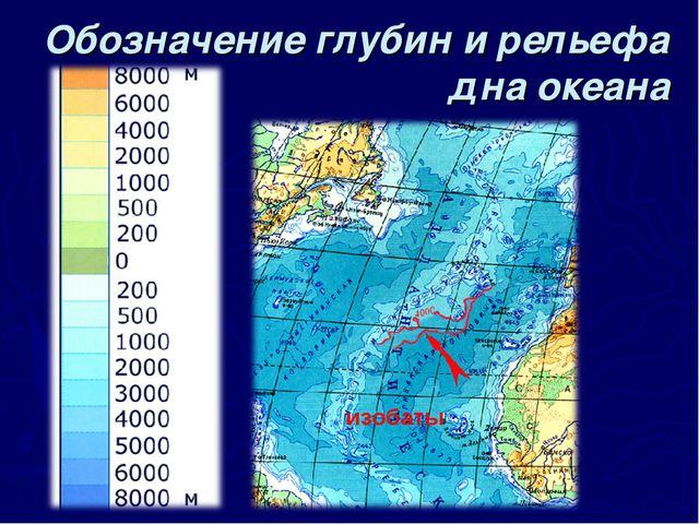 Обозначение глубин и рельефа дна океана изобаты