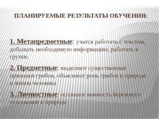 ПЛАНИРУЕМЫЕ РЕЗУЛЬТАТЫ ОБУЧЕНИЯ: 1. Метапредметные: учатся работать с текстом