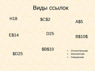 Относительная Абсолютная Смешанная  Виды ссылок D25 $D25 E$14 A$5 $C$2 H18 B