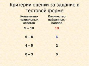 Критерии оценки за задание в тестовой форме Количество правильных ответовКол