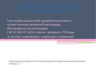 Подготовила руководитель МО учителей трудовой и профессиональной подготовки