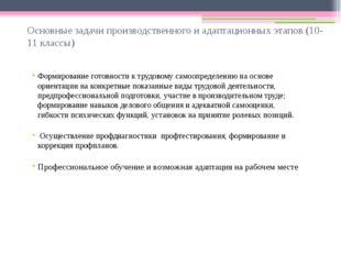 Основные задачи производственного и адаптационных этапов (10-11 классы) Форми