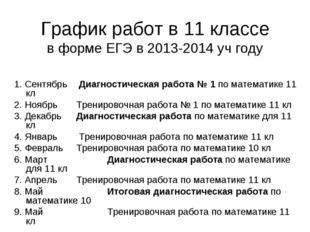График работ в 11 классе в форме ЕГЭ в 2013-2014 уч году  1. Сентябрь  Диаг