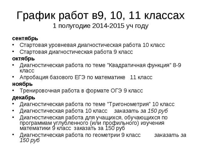 График работ в9, 10, 11 классах 1 полугодие 2014-2015 уч году сентябрь Старто...