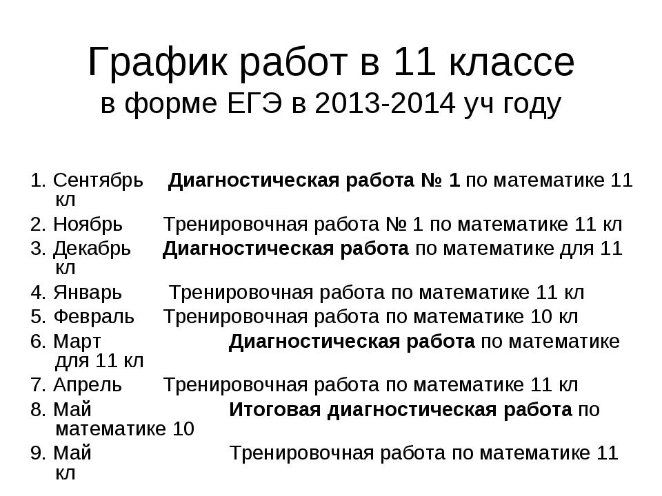 График работ в 11 классе в форме ЕГЭ в 2013-2014 уч году  1. Сентябрь  Диаг...
