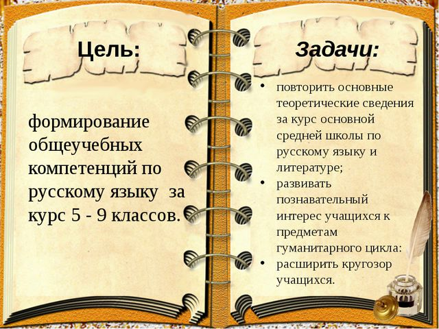 Цель: формирование общеучебных компетенций по русскому языку за курс 5 - 9 кл...