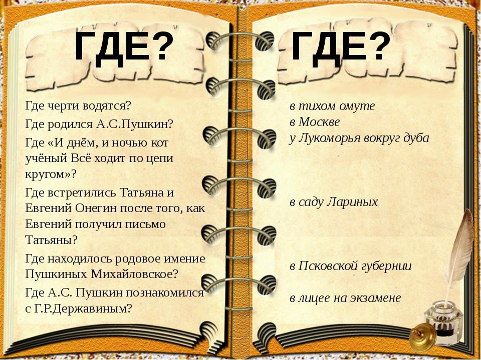 ГДЕ? Где черти водятся? Где родился А.С.Пушкин? Где «И днём, и ночью кот...