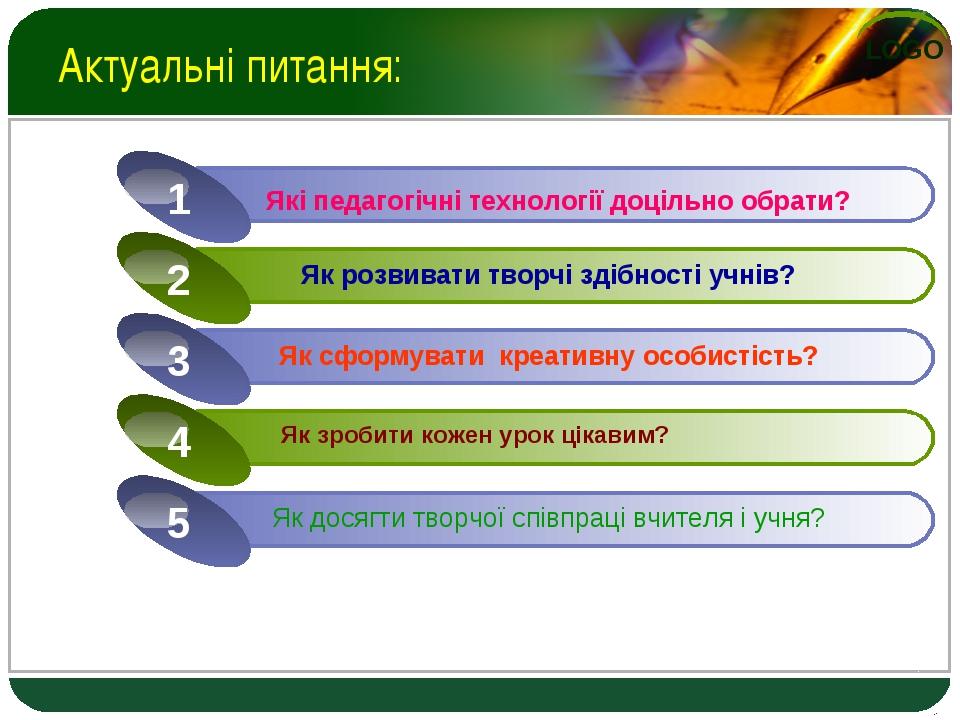 Актуальні питання: Які педагогічні технології доцільно обрати? LOGO