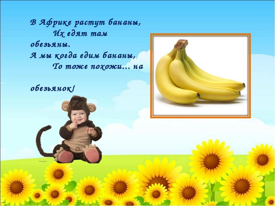 В Африке растут бананы, Их едят там обезьяны. А мы когда едим бананы, То тож...