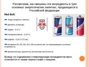 Рассмотрим, как смешаны эти ингредиенты в трех основных энергетических напитк