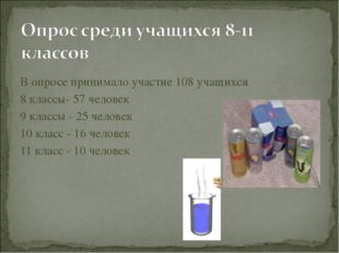 В опросе принимало участие 108 учащихся 8 классы- 57 человек 9 классы - 25 че