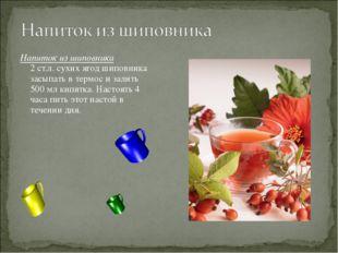 Напиток из шиповника 2 ст.л. сухих ягод шиповника засыпать в термос и залить