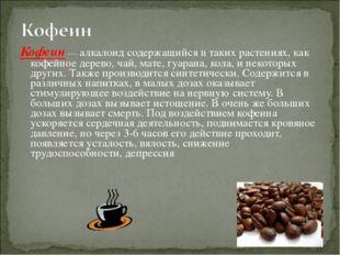 Кофеин — алкалоид содержащийся в таких растениях, как кофейное дерево, чай, м