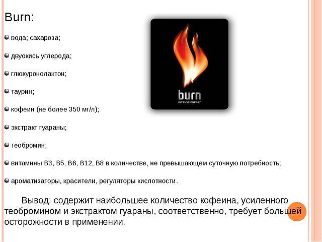 Burn: вода; сахароза; двуокись углерода; глюкуронолактон; таурин; кофеин (не...