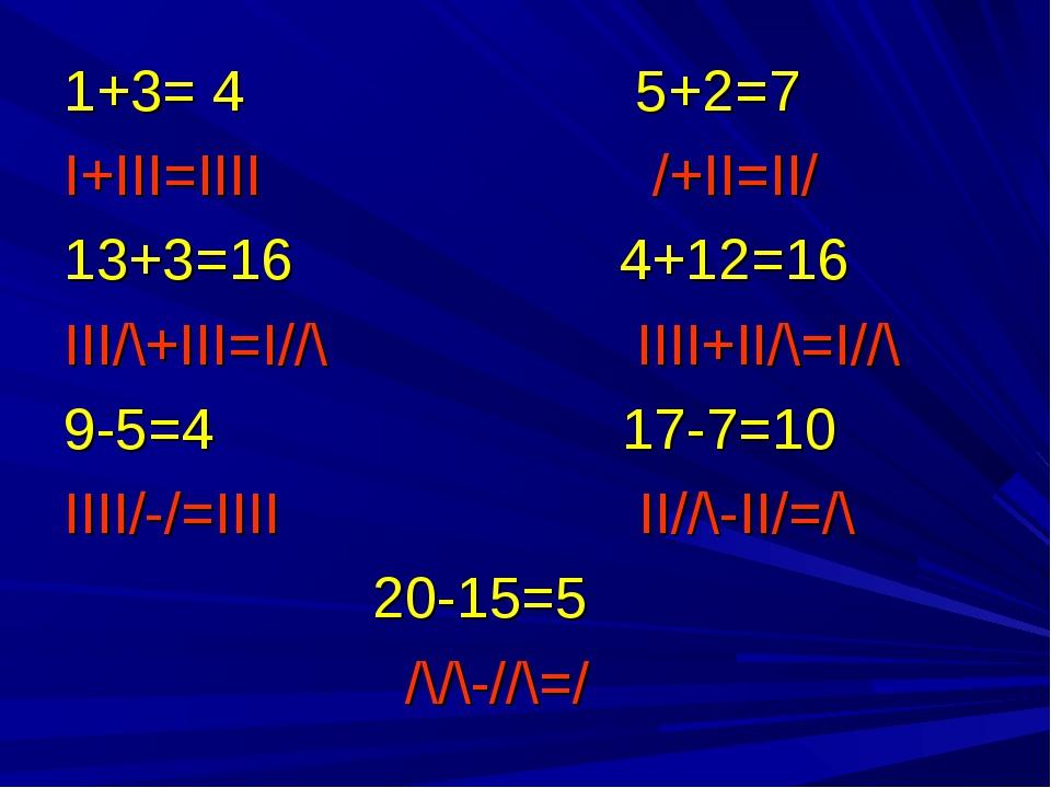1+3= 4 5+2=7 I+III=IIII /+II=II/ 13+3=16 4+12=16 III/\+III=I//\ IIII+II/\=I//...