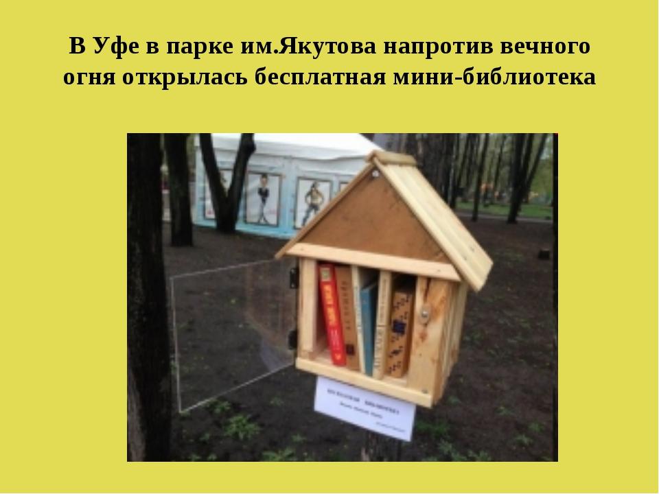 В Уфе в парке им.Якутова напротив вечного огня открылась бесплатная мини-библ...