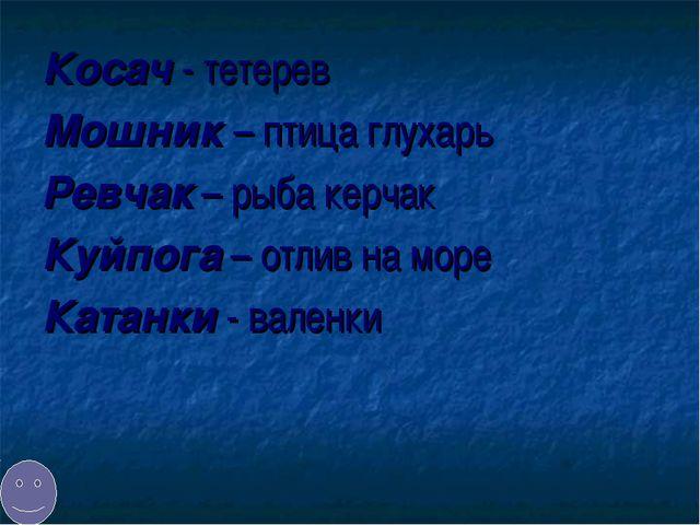 Косач - тетерев Мошник – птица глухарь Ревчак – рыба керчак Куйпога – отлив н...