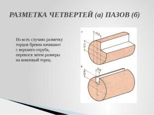 РАЗМЕТКА ЧЕТВЕРТЕЙ(а) ПАЗОВ (б) Во всех случаях разметку торцов бревен начин