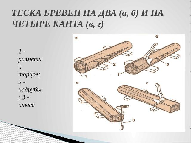 ТЕСКА БРЕВЕН НА ДВА (а, б) И НА ЧЕТЫРЕ КАНТА (в, г) 1 - разметка торцов; 2 -...