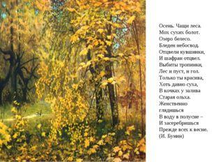 Осень. Чащи леса. Мох сухих болот. Озеро белесо. Бледен небосвод. Отцвели