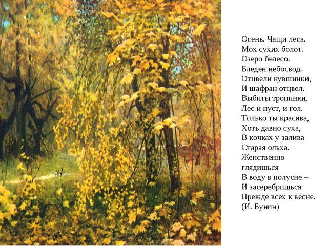 Осень. Чащи леса. Мох сухих болот. Озеро белесо. Бледен небосвод. Отцвели...