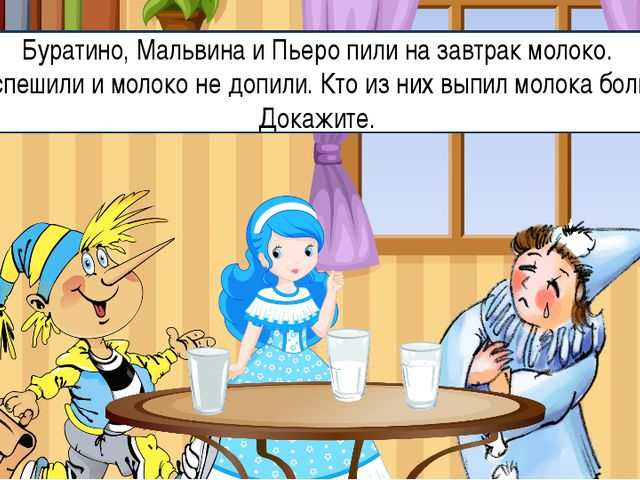 Буратино, Мальвина и Пьеро пили на завтрак молоко. Они спешили и молоко не до...