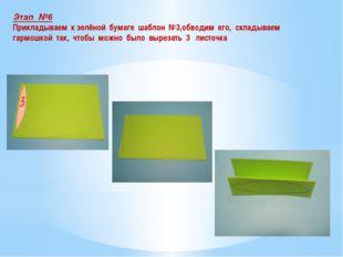 Этап №6 Прикладываем к зелёной бумаге шаблон №3,обводим его, складываем гармо
