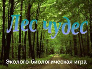 Эколого-биологическая игра